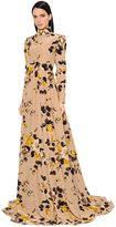 Rochas Print Crepe De Chine Dress W/ Open Back