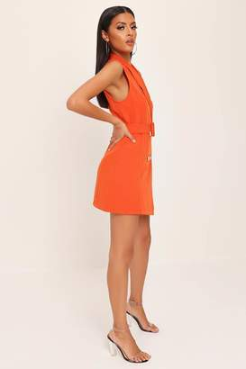 I SAW IT FIRST Rust Sleeveless Double Button Belted Blazer Dress