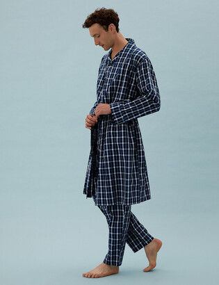 Marks and Spencer Cotton Lightweight Checked Dressing Gown