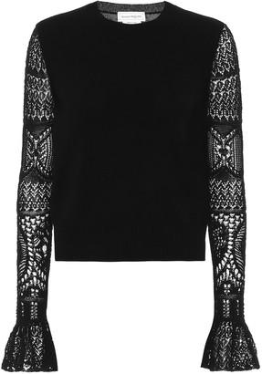 Alexander McQueen Lace-trimmed wool sweater