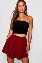 boohoo Petite Box Pleat Skater Skirt