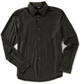 Murano Liquid Luxury Slim-Fit Long Sleeve Coat-Front Stripe Shirt