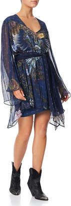 Camilla Printed Silk Short Dress with Yoke