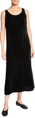 Eileen Fisher Crushed Velvet Scoop-Neck Midi Dress