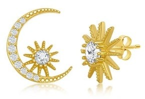 La Preciosa Sun and Moon with Round-Cut Simulated CZ Diamond 14k Gold Plated Sterling Silver Stud Earrings - Gold-Plated