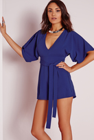Missguided Belted Kimono Style Romper Cobalt Blue