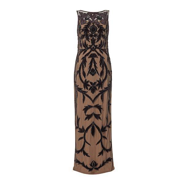Adrianna Papell Sleeveless sheer velvet maxi dress
