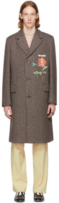Gucci Brown Embroidered Wool Coat