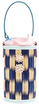 Heimat Atlantica - Cupid Shell-embellished Straw Bucket Bag - Womens - Blue Multi