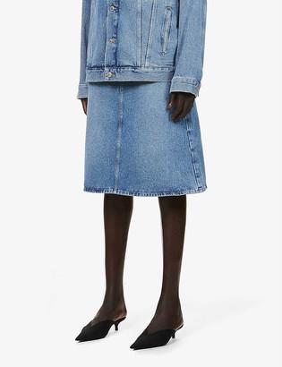 Balenciaga A-line high-rise denim midi skirt