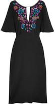 Matthew Williamson Sakura Embroidered Silk Crepe De Chine Midi Dress - Black
