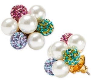 Kate Spade Gold-Tone Pave Fireball & Imitation Pearl Cluster Stud Earrings