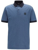 HUGO BOSS - Cotton Pique Polo Shirt With Press Stud Placket - Open Blue