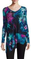 Fuzzi Tropical Floral-Print V-Neck Asymmetrical Top