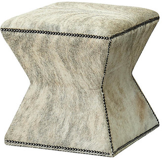 Althea Ottoman - Gray Brindle - Massoud - upholstery, gray; nailheads, silver