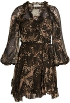 Zimmermann Maples Feathery floral-print silk wrap dress