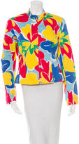 David Meister Floral Print Zip-Up Jacket