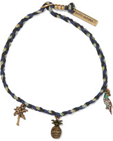 Marc Jacobs Woven, Gold-plated And Crystal Bracelet - Midnight blue