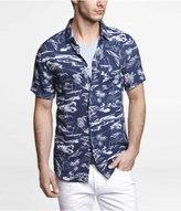 Express Fitted Short Sleeve Hawaiian Print Shirt