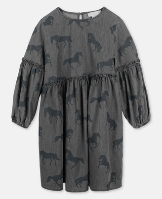 Stella Mccartney Kids Stella McCartney bleached horses chambray dress