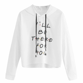 Toamen Women Womens Hoodies Sweatshirt Sale Toamen - I'll Be There for You -Letter Print Long Sleeve Casual Hooded Jumper Tops Sportwear(White 10)