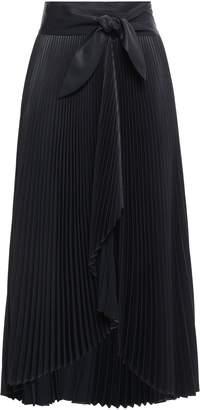 A.L.C. Eleanor Plisse-satin Midi Wrap Skirt