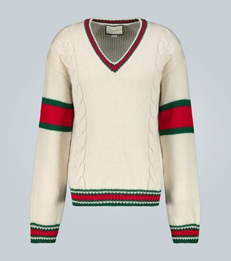 Gucci Cable V-neck Cricket knitted sweater