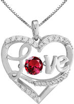 JCPenney FINE JEWELRY Love in Motion Lab-Created Ruby Sterling Silver Love Pendant Necklace