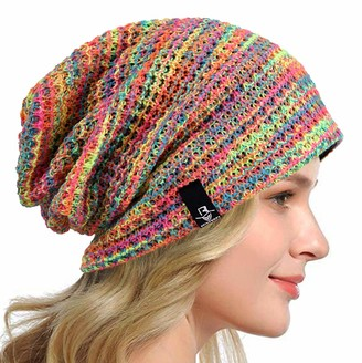 HISSHE Women Slouch Beanie Knit Beret Skullcap Long Baggy Winter Summer Hats B08w (Solid Pale)