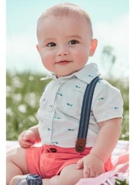 Carter's Toddler Boys 3-Pc. Dog-Print Shirt, Solid Shorts & Suspenders Set