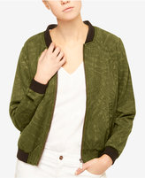Sanctuary Leaf-Print Denim Bomber Jacket