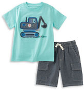 Kids Headquarters Boys 2-7 Two-Piece Applique Tee and Chambray Shorts Set