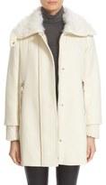 Moncler 'Calipso' Wool Blend Jacket with Genuine Kalgan Lamb Fur Trim