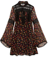 Anna Sui Lace-paneled Printed Silk-georgette Mini Dress - Black