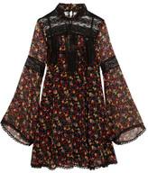 Anna Sui Lace-paneled Printed Silk-georgette Mini Dress