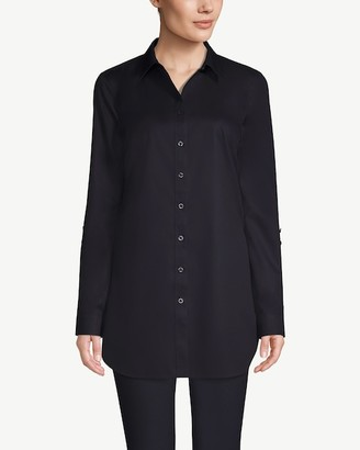 No Iron Cotton Roll-Tab Sleeve Tunic