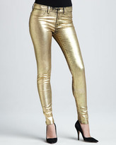 J Brand Jeans 801 Coated Metallic Gold Skinny Jeans