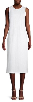 Pure Navy Sleeveless Side-Slit Cotton Dress