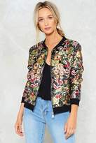 Nasty Gal Wild Summer Nights Floral Bomber Jacket