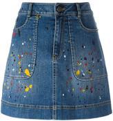 Alice + Olivia Alice+Olivia - splatter print denim skirt - women - Cotton/Spandex/Elastane - 24