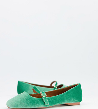 ASOS DESIGN Wide Fit Lolly mary jane ballet flats in green velvet