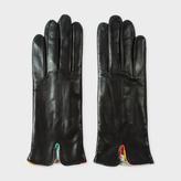 Paul Smith Women's Black Lambskin 'Artist Stripe' Trim Gloves