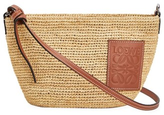 Loewe Pochette Leather-Trimmed Raffia Crossbody Bag