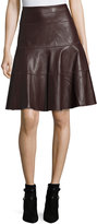 Bagatelle Faux-Leather A-Line Knee Skirt, Plum