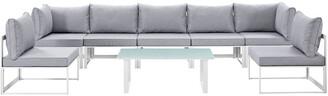 Modway Fortuna 8Pc Outdoor Patio Aluminum Sectional Sofa Set