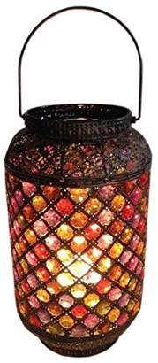 Brown Moroccan Jewelled Lantern Table Desk Lamp - Vintage Style Perfect for All Living Rooms & Bedrooms - Superb Quality