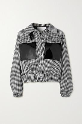 REMAIN Birger Christensen Odette Patent Leather-trimmed Houndstooth Wool-blend Jacket - Gray