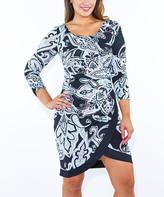 Modern Touch Women's Casual Dresses - Sky Blue Art Deco Tulip-Hem Dress - Women