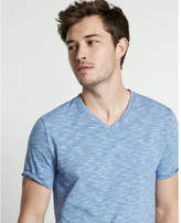 Express slub jersey stripe cotton v-neck tee