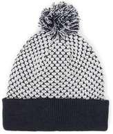Topman Navy Jacquard Bobble Beanie Hat